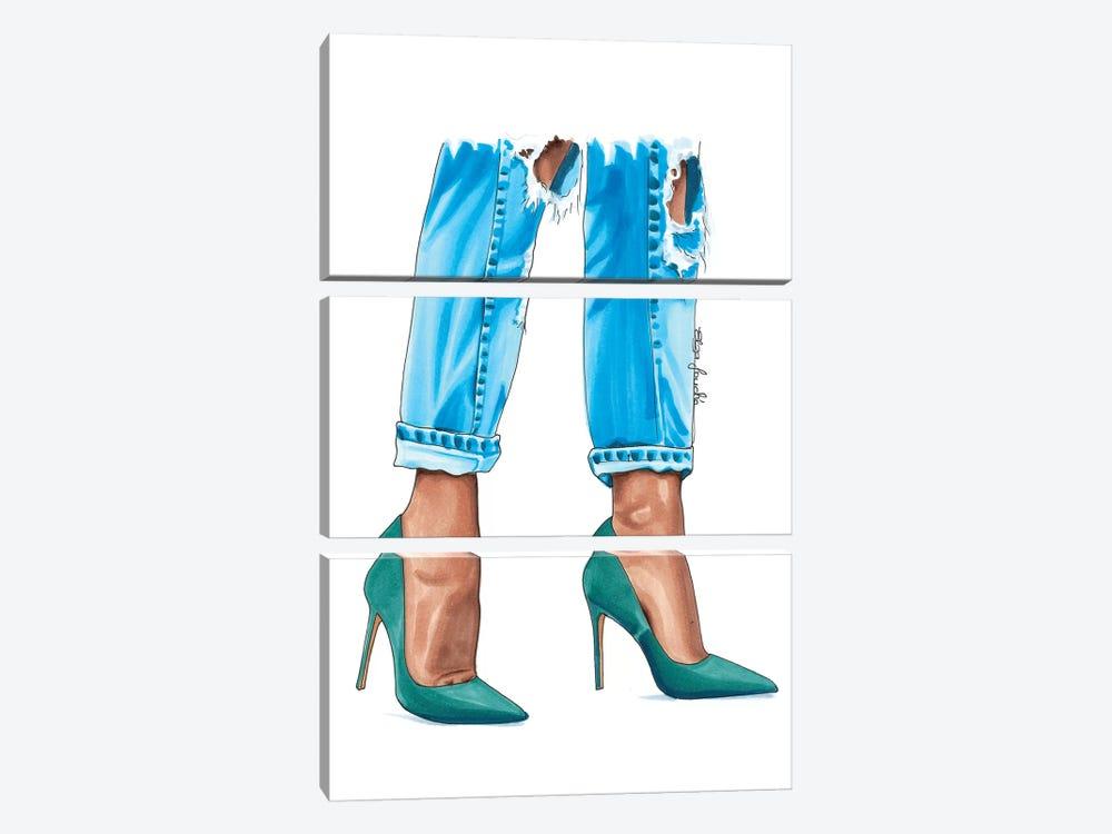 Teal Heels by Elza Fouche 3-piece Canvas Artwork