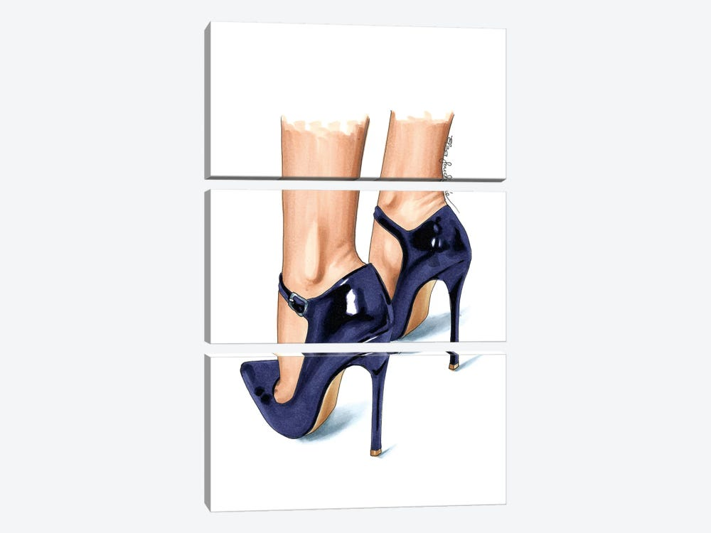 Violet Heels by Elza Fouche 3-piece Canvas Wall Art
