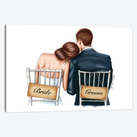 Bride and Groom Canvas Print #ELZ66} by Elza Fouche Canvas Artwork