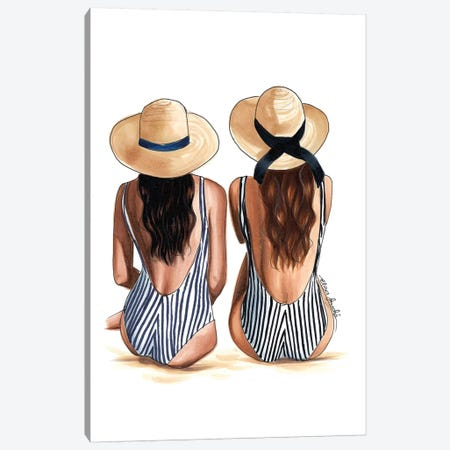 Beach Babes Canvas Print #ELZ6} by Elza Fouche Art Print