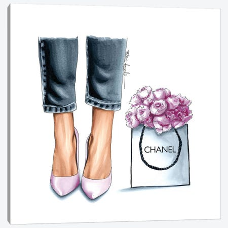 Heels & Peonies Canvas Print #ELZ71} by Elza Fouche Canvas Artwork