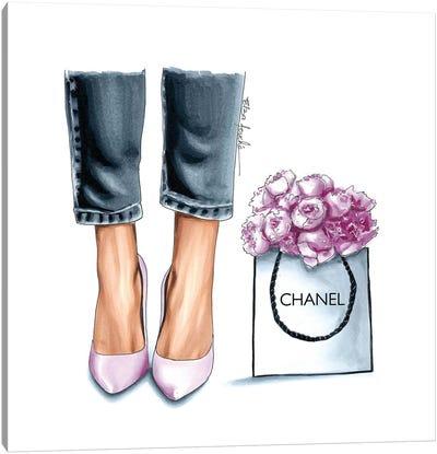 Heels & Peonies Canvas Art Print