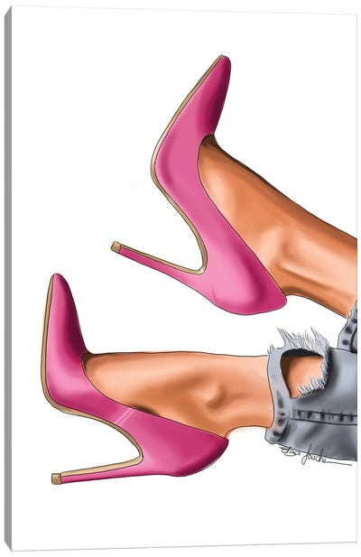 Pink Heels & Ripped Jeans Canvas Art Print