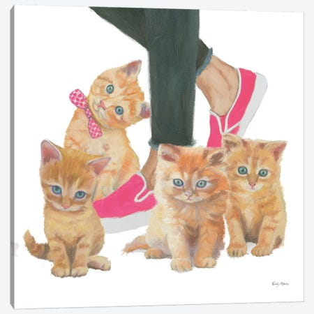 Cutie Kitties I Canvas Print #EMA1} by Emily Adams Art Print
