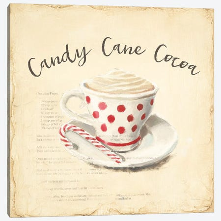 Creme de Noel Candy Cane Canvas Print #EMA32} by Emily Adams Canvas Wall Art