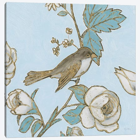 Toile Birds I Canvas Print #EMA33} by Emily Adams Canvas Artwork