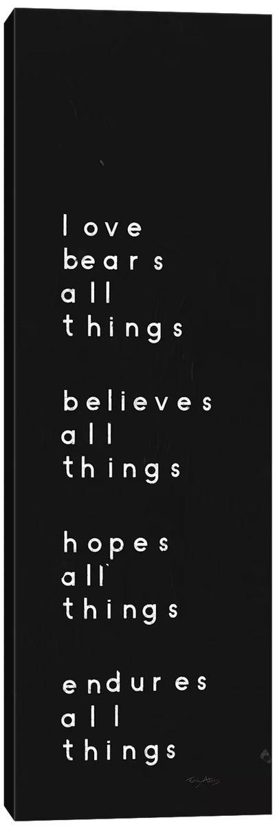 Words of Encouragement I Black Canvas Art Print