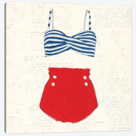 Retro Swimwear IV Newsprint Sq Canvas Print #EMA42} by Emily Adams Art Print