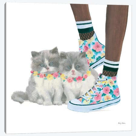 Cutie Kitties VII Canvas Print #EMA7} by Emily Adams Canvas Wall Art