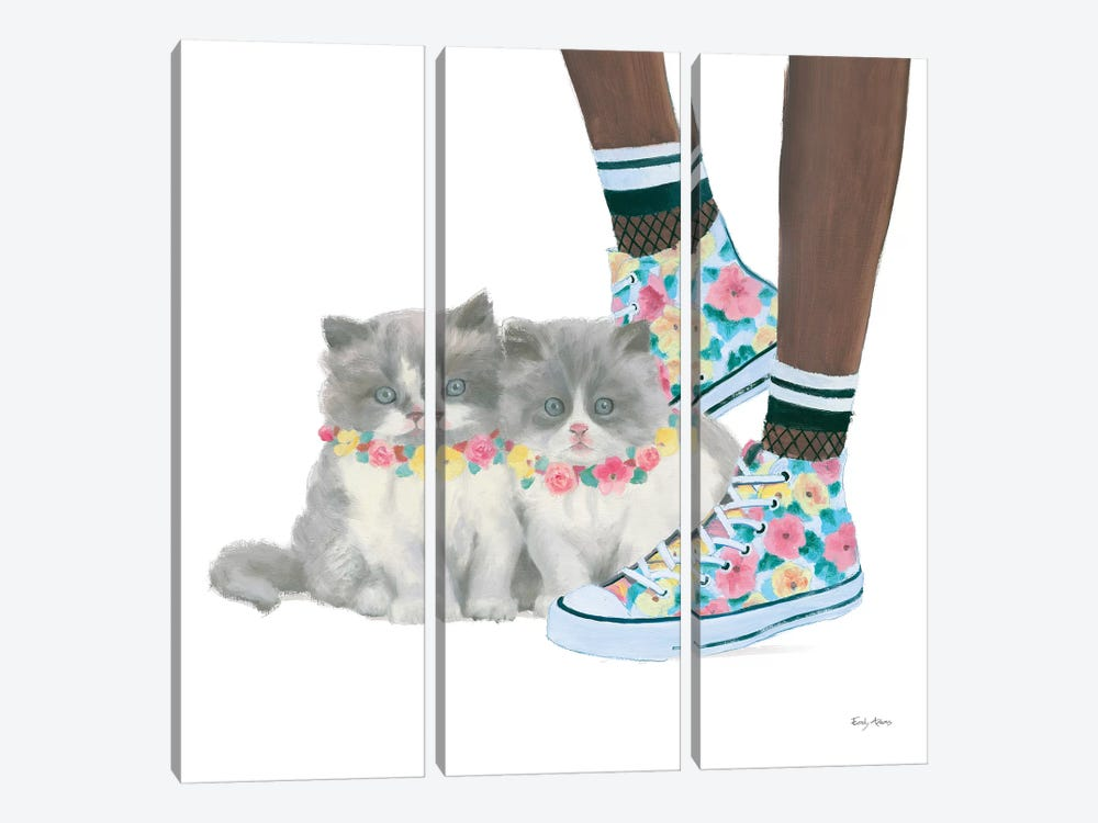 Cutie Kitties VII by Emily Adams 3-piece Canvas Art