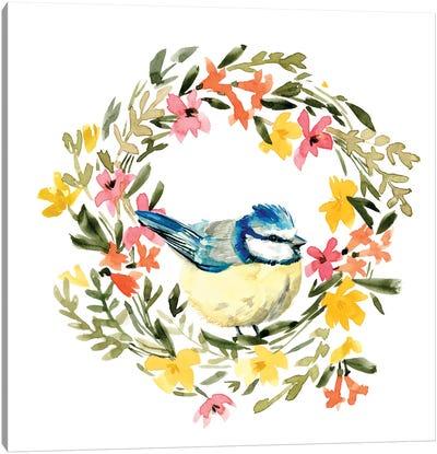 Springtime Wreath & Bird I Canvas Art Print