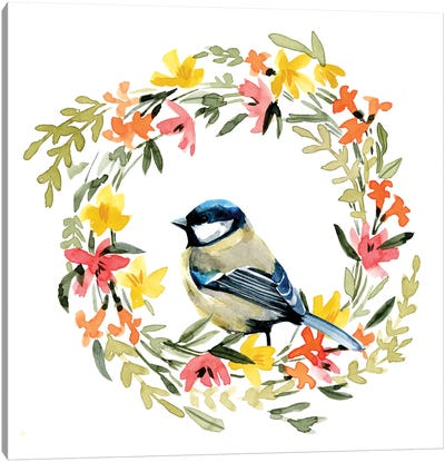 Springtime Wreath & Bird II Canvas Art Print