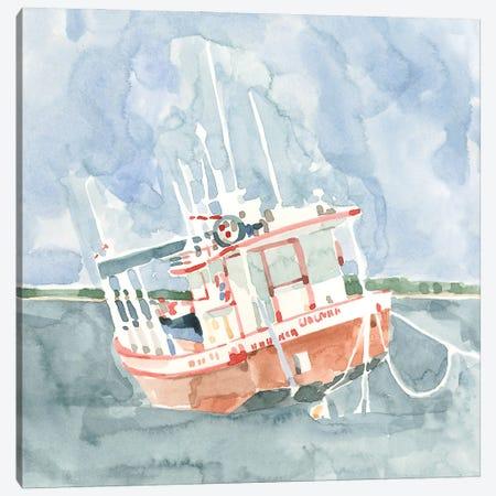 Bright Fishing Boat I Canvas Print #EMC79} by Emma Caroline Canvas Artwork