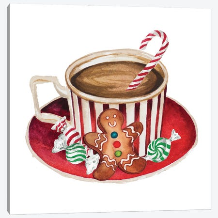 Gingerbread and a Mug Full of Cocoa III Canvas Print #EMD102} by Elizabeth Medley Canvas Art Print