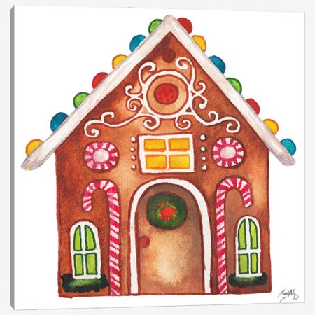 Gingerbread and Candy House I Canvas Print #EMD104} by Elizabeth Medley Canvas Artwork
