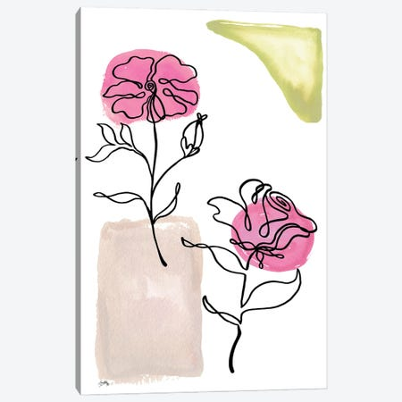 Modern Floral Line I Canvas Print #EMD108} by Elizabeth Medley Art Print