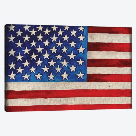 American Flag Canvas Print #EMD18} by Elizabeth Medley Canvas Art Print