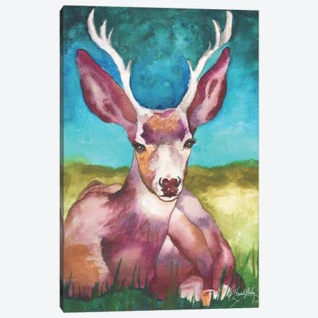 Buck in a Field I Canvas Print #EMD1} by Elizabeth Medley Canvas Artwork