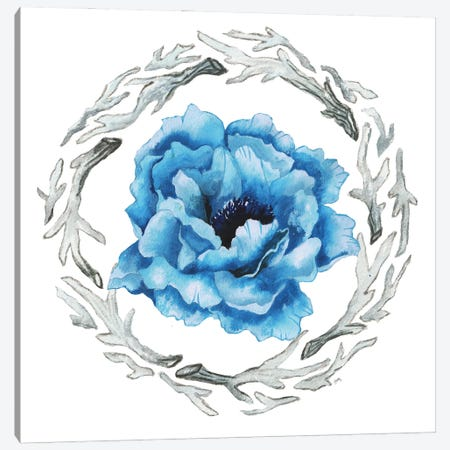 Blue Flower I Canvas Print #EMD20} by Elizabeth Medley Canvas Artwork