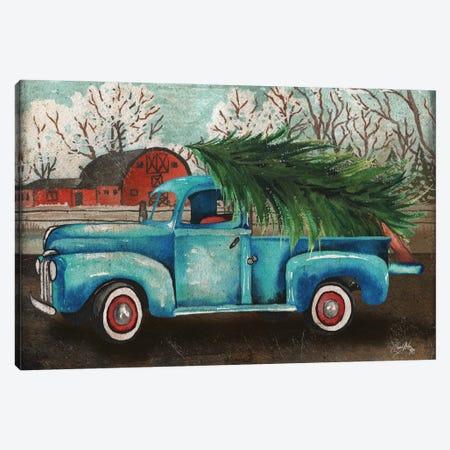 Blue Truck and Tree I Canvas Print #EMD22} by Elizabeth Medley Canvas Art