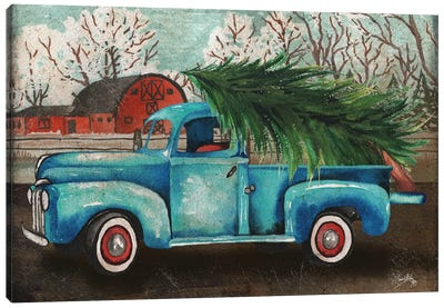 Blue Truck and Tree I Canvas Art Print
