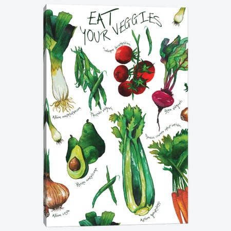 Eat Your Veggies 3-Piece Canvas #EMD29} by Elizabeth Medley Canvas Wall Art