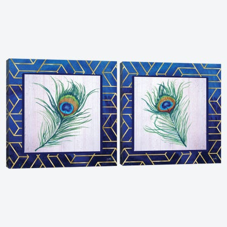 Peacock Feather Diptych Canvas Print Set #EMD2HSET003} by Elizabeth Medley Art Print