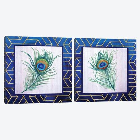 Peacock Feather Diptych Canvas Print Set #EMD2HSET003} by Elizabeth Medley Art Print