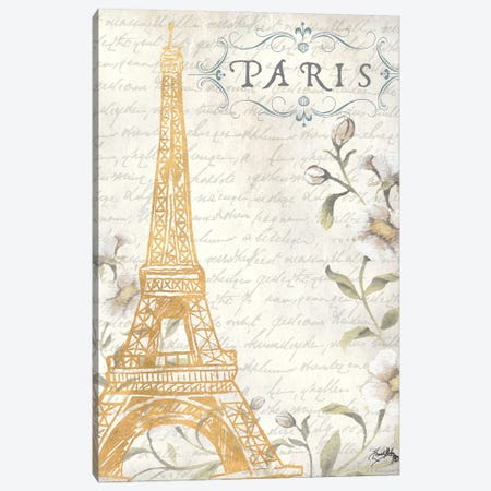 Golden Paris I Canvas Print #EMD31} by Elizabeth Medley Canvas Art Print