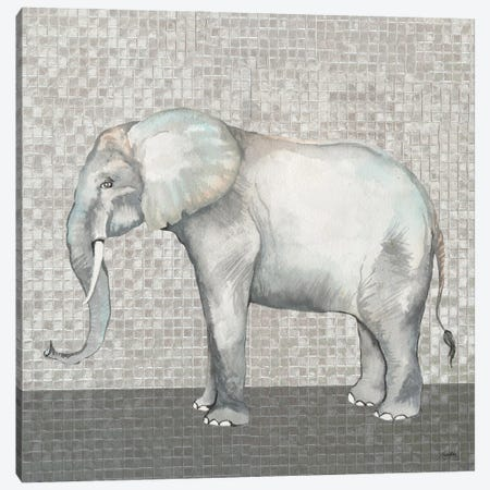Introspective Elephant Canvas Print #EMD39} by Elizabeth Medley Art Print