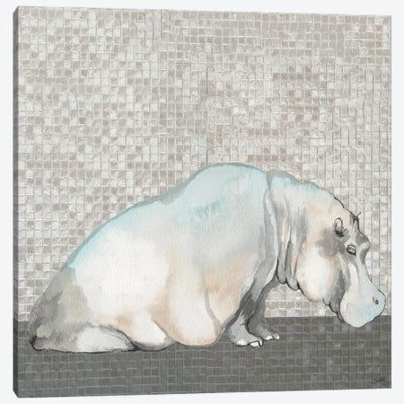 Introspective Hippo Canvas Print #EMD40} by Elizabeth Medley Canvas Art