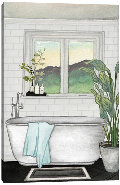 Modern Black and White Bath I Canvas Art Print