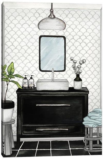 Modern Black and White Bath II Canvas Art Print