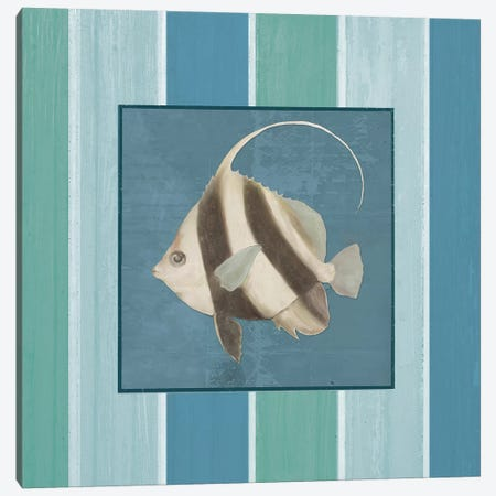 Fish on Stripes I Canvas Print #EMD5} by Elizabeth Medley Canvas Art Print