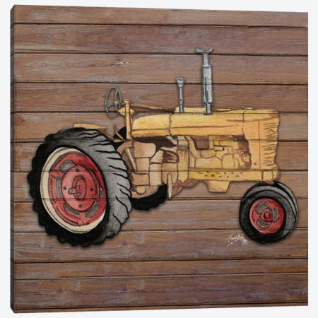 Tractor on Wood I Canvas Print #EMD66} by Elizabeth Medley Canvas Art Print
