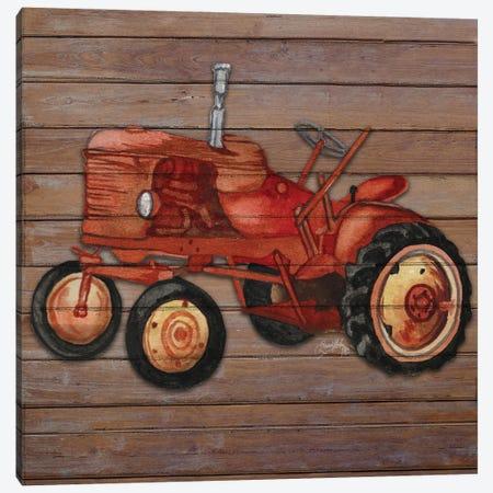 Tractor on Wood II Canvas Print #EMD67} by Elizabeth Medley Canvas Print