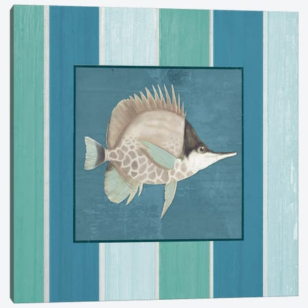 Fish on Stripes II Canvas Print #EMD6} by Elizabeth Medley Art Print