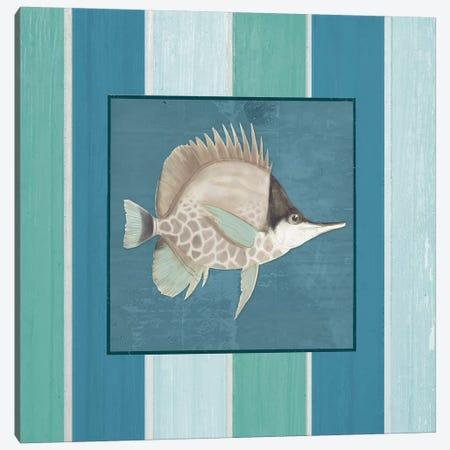 Fish on Stripes II Canvas Print #EMD6} by Elizabeth Medley Art Print