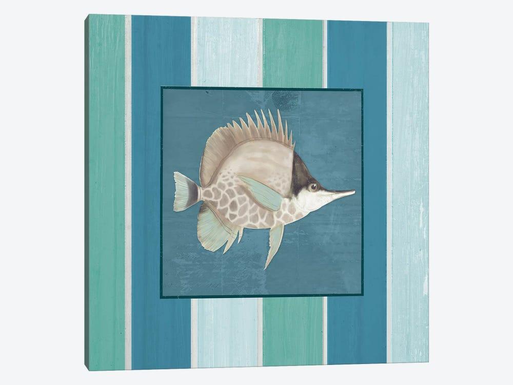 Fish on Stripes II by Elizabeth Medley 1-piece Canvas Wall Art