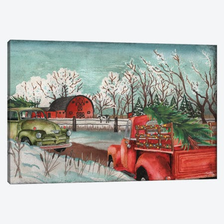 Winter Time on the Farm with Lights Canvas Print #EMD72} by Elizabeth Medley Canvas Print