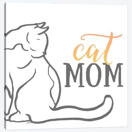 Cat Mom Canvas Print #EMD81} by Elizabeth Medley Canvas Artwork