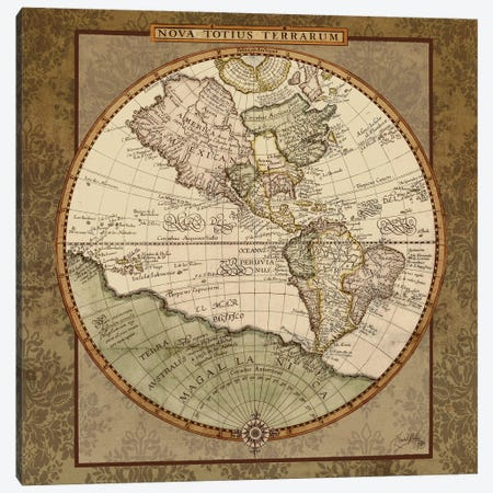Damask World Map I Canvas Print #EMD93} by Elizabeth Medley Canvas Print