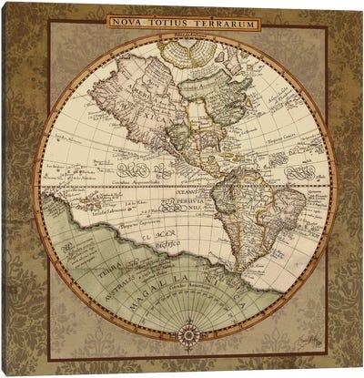 Damask World Map I Canvas Art Print