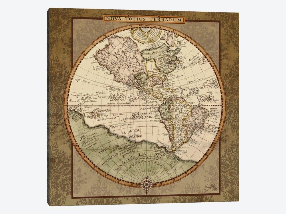 Damask World Map I by Elizabeth Medley 1-piece Canvas Wall Art