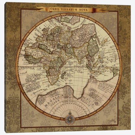 Damask World Map II Canvas Print #EMD94} by Elizabeth Medley Canvas Art