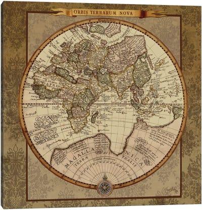 Damask World Map II Canvas Art Print