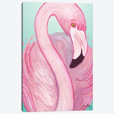 Flamingo Portrait Canvas Print #EMD98} by Elizabeth Medley Art Print