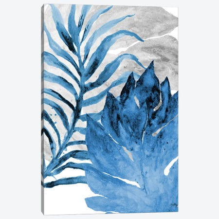 Blue Fern and Leaf I Canvas Print #EME111} by Elizabeth Medley Canvas Art Print