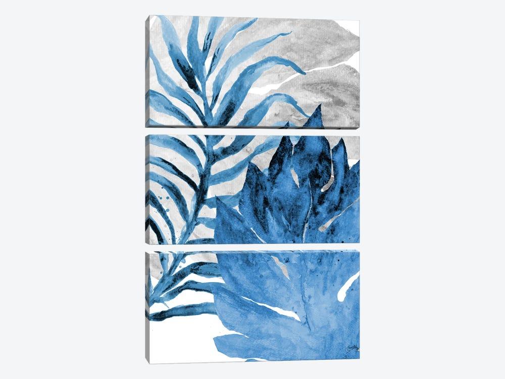 Blue Fern and Leaf I by Elizabeth Medley 3-piece Canvas Art Print