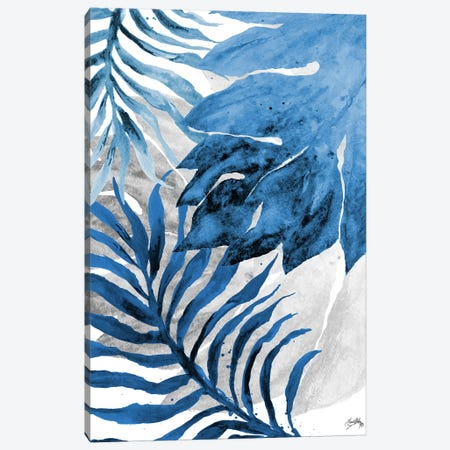 Blue Fern and Leaf II 3-Piece Canvas #EME112} by Elizabeth Medley Art Print